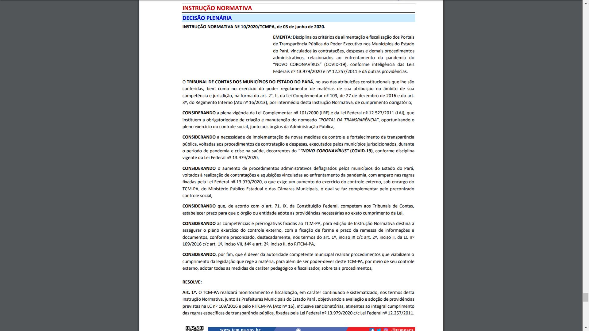 Instrução Normativa Nº 010/2020 (TCM-PA)